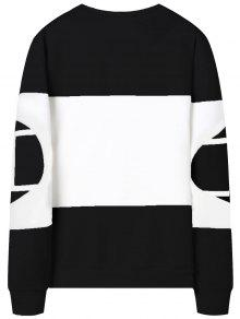 Xl Y Blanco Block Color Negro Graphic Describe Sudadera xz0ROS