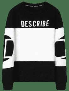Describe Negro Y Block Color Graphic Blanco Xl Sudadera 5qHzYwx