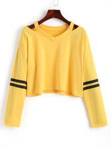 Sweatshirt Mit Streifen Und Kalter Schulter  - Gelb S