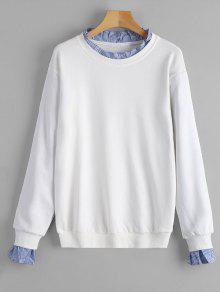 Sweat-shirt à Manches Fendues Volantées - Blanc M