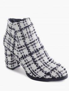 كتلة كعب الجانب سستة أحذية الكاحل - أبيض 39