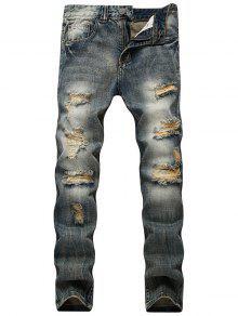 خمر الجينز المتعثرة مع الساق المستقيمة - ازرق رمادي 34