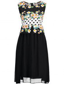 فستان الحجم الكبير طباعة الأزهار - أسود 4xl