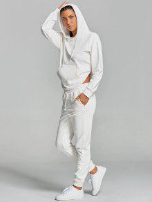 بدلة رياضية بنطلون مشد مع هوديي فتحات - أبيض L