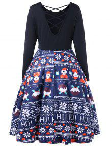 M Vestido Criss Cruzado Azul Cruzado Navidad De qY0pzqw
