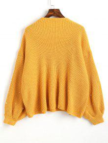 Lantern Sleeve Oversized Faux Pearls Sweater MUSTARD: Sweaters ONE ...
