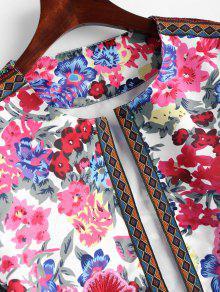 Estampado Floral Abierta Parche De Con Floral Chaqueta M 6qtwEq