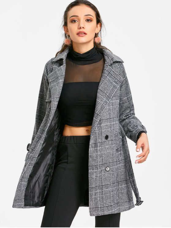 best Single Breasted Belted Houndstooth Coat - GRAY XL