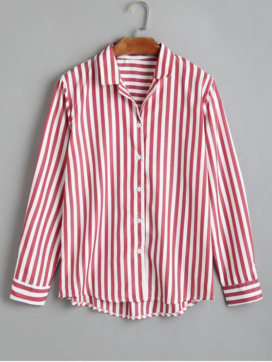 online Striped Button Up Longline Shirt - RED L