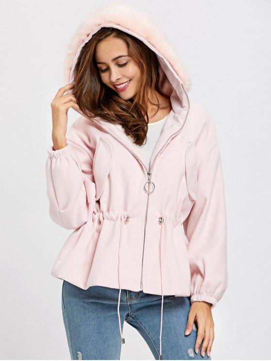 shop Zip Up Textured Hooded Jacket - PINK ONE SIZE