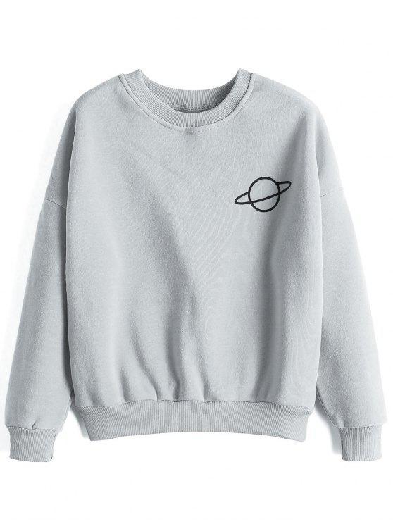 trendy Planet Drop Shoulder Sweatshirt - GRAY ONE SIZE