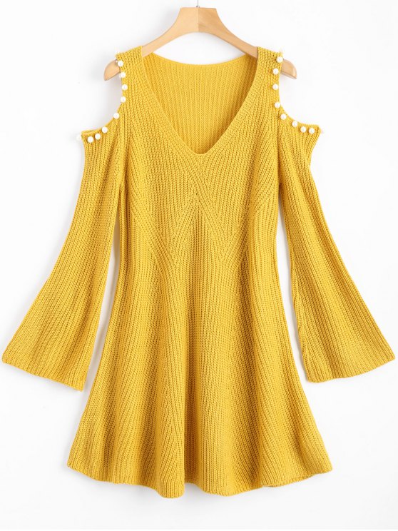 1d70ecbed36 29 Off 2019 Beaded Cold Shoulder Sweater Dress In Yellow Zaful