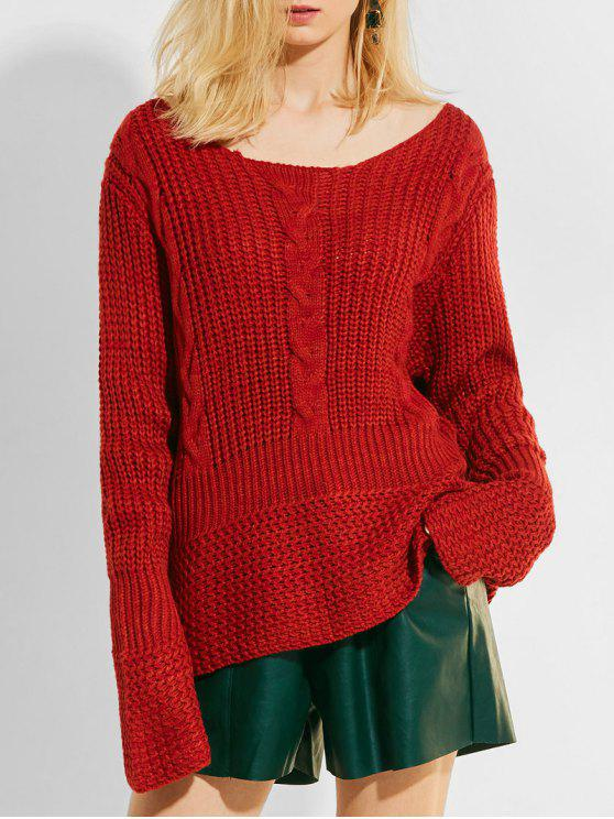 Pullover Cable Knit Panel Chunky Sweater WINE RED: Sweaters ONE ...