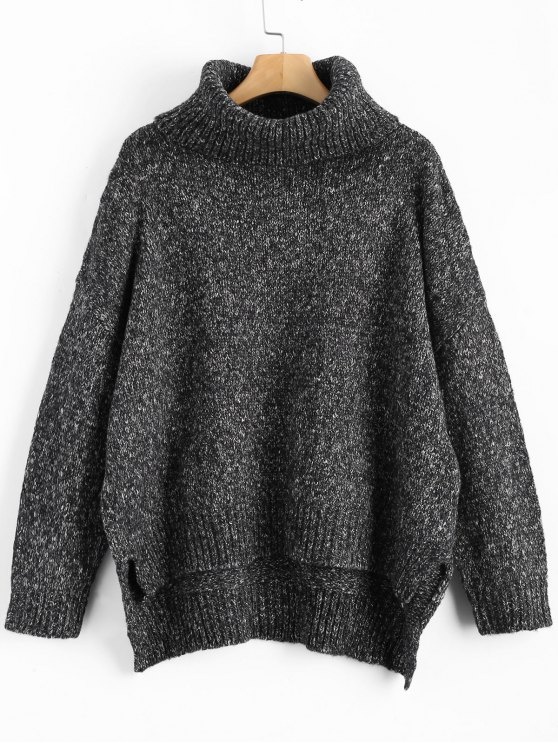 Heathered Oversized Turtleneck Sweater BLACK GREY: Sweaters ONE ...