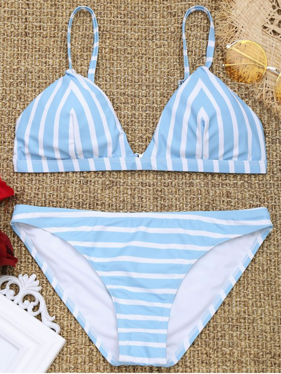 womens Chevron Striped Padded Cami Bikini Set - BLUE AND WHITE M