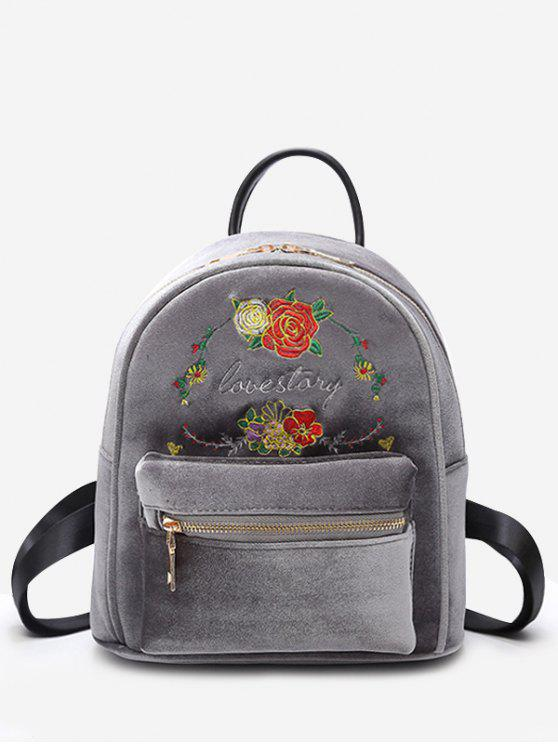women Florals Embroidery Letter Backpack - GRAY
