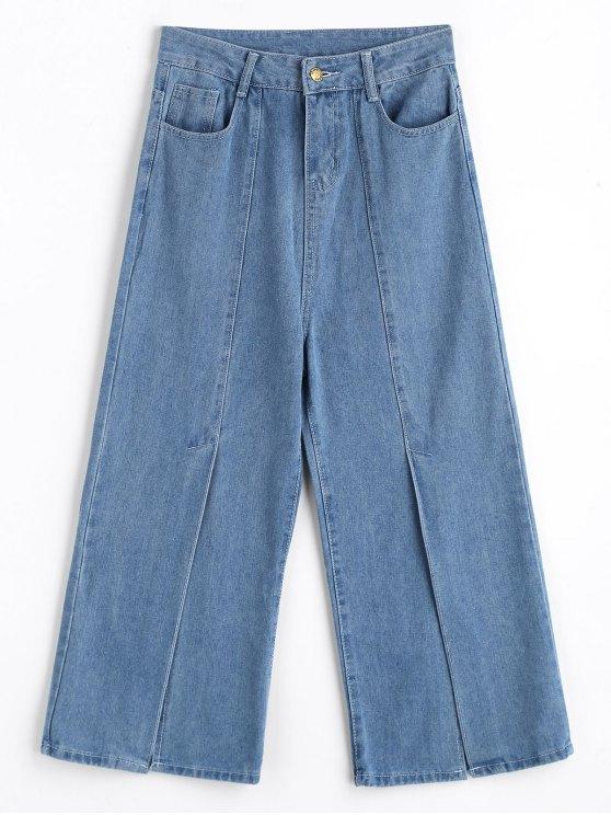 Jeans A Fessura Anteriore A Vita Alta Con Gamba Larga - Blu Denim S