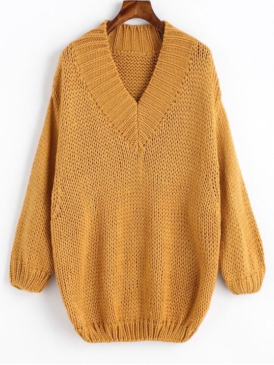 2019 Pullover V Neck Chunky Oversized Sweater In Mustard One Size