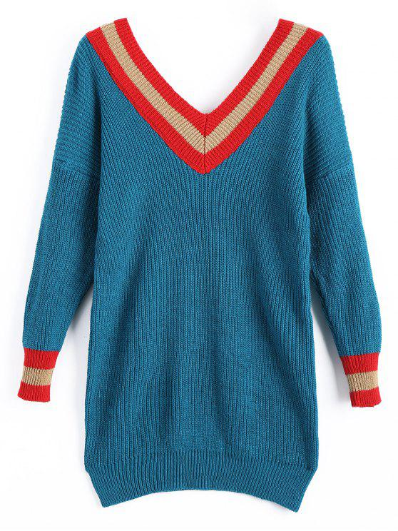 affordable V Neck Stripe Sweater Dress - PEACOCK BLUE ONE SIZE