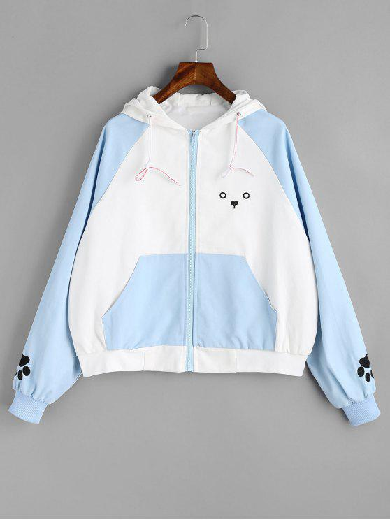 online Zip Up Cute Puppy Jacket - BLUE AND WHITE ONE SIZE