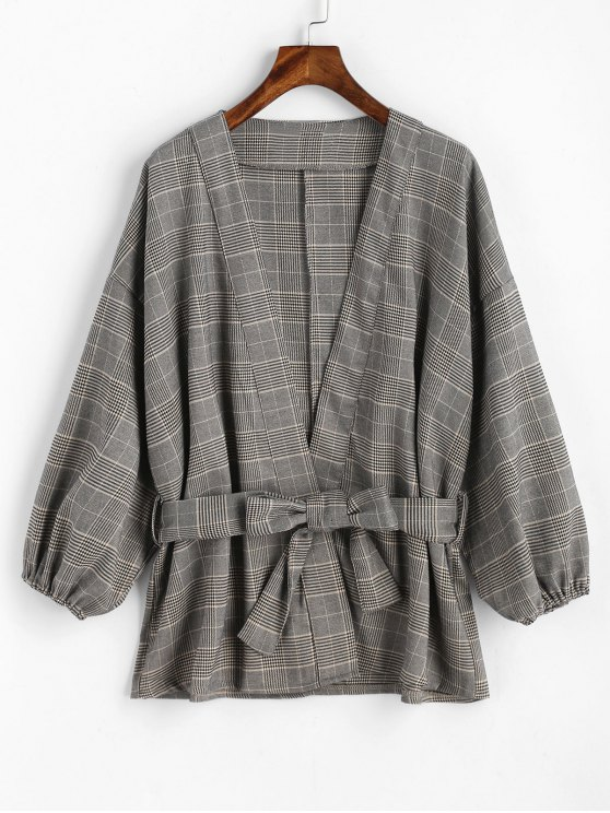 shop Belted Plaid Kimono Coat - CHECKED ONE SIZE