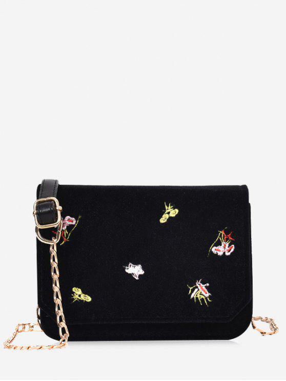 Bolso de Crossbody de las flores del bordado de cadena - Negro
