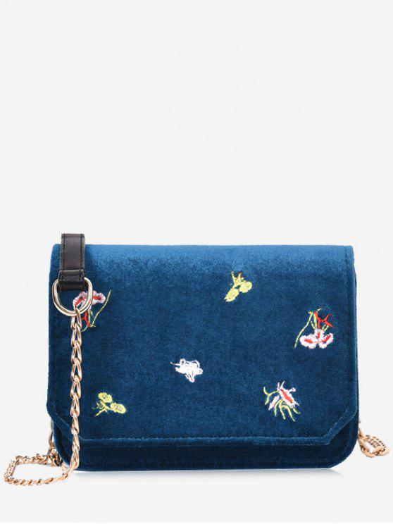 women Chain Embroidery Flowers Crossbody Bag - BLUE