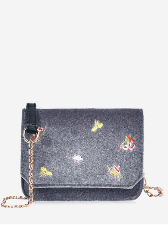 ladies Chain Embroidery Flowers Crossbody Bag - GRAY