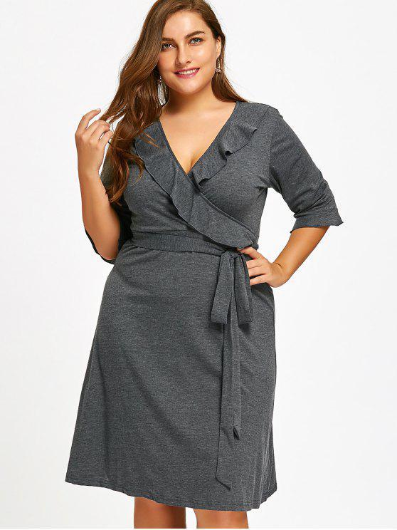 Ruffles Belted Surplice Plus Size Dress - Cinzento 4XL