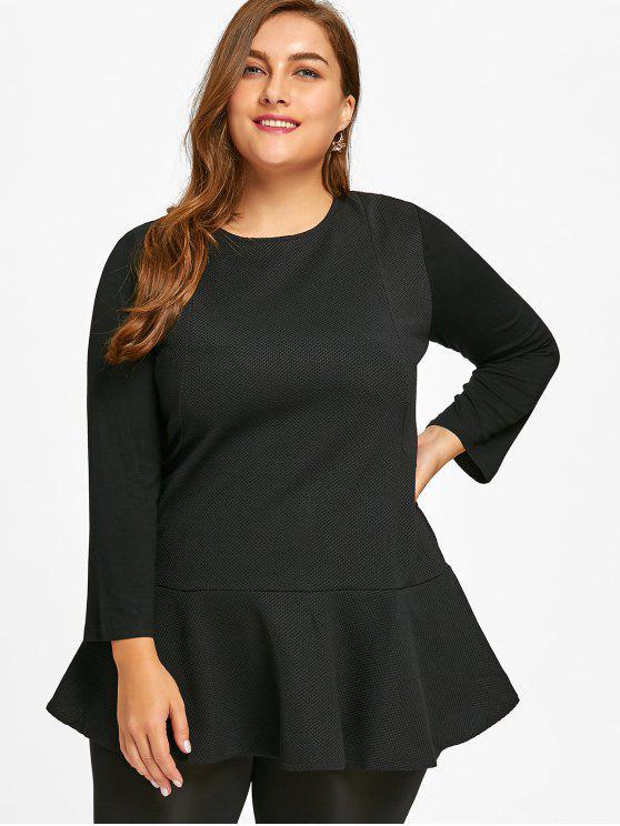 Camiseta de manga larga con parte superior de peplum - Negro 3XL