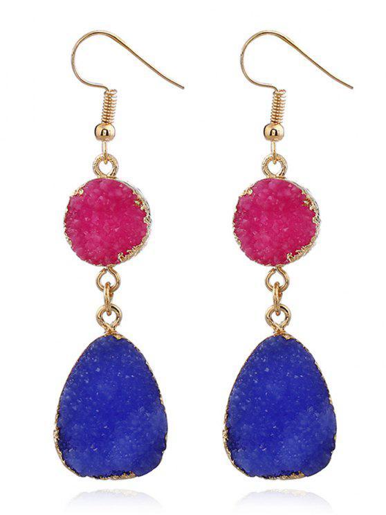 ladies Unique Natural Stone Teardrop Drop Earrings - BLUE