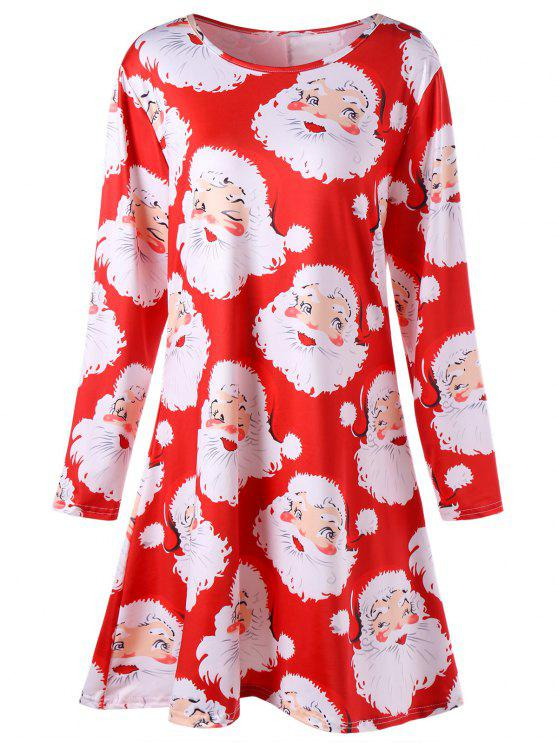 hot Plus Size Santa Claus Print Mini Swing Dress - RED 3XL