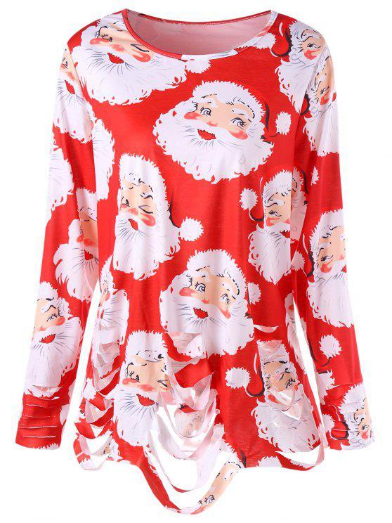 Camiseta estampada con estampado de Santa Claus y túnica rasgada - Rojo 5XL
