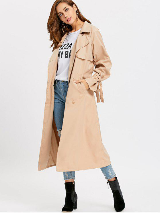 best Skirted Double-breasted Soft Trench Coat - KHAKI S