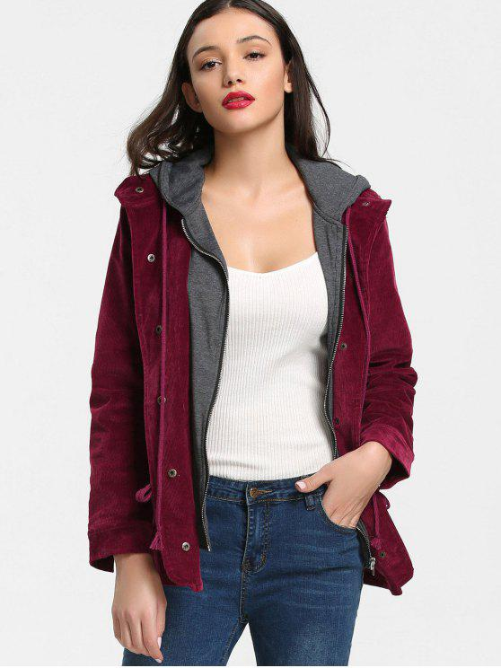 lady Hooded Corduroy Jacket - DEEP RED S