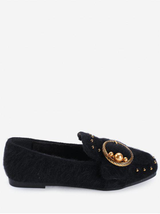 womens Studs Faux Gem Ring Buckled Flat Shoes - BLACK 38
