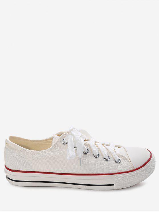 unique Stitching Lace Up Canvas Shoes - WHITE 39
