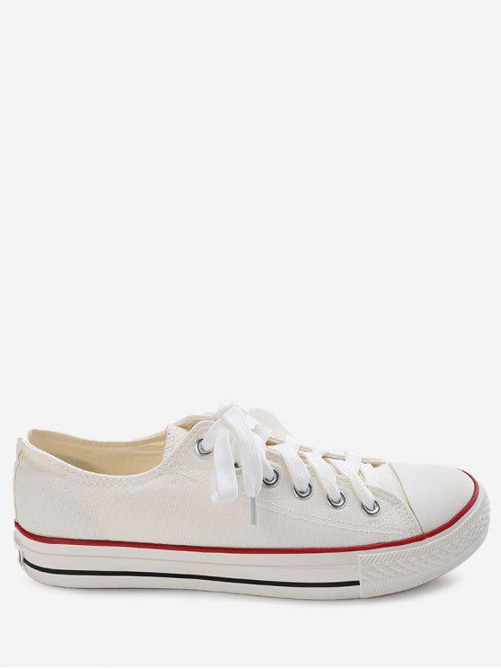buy Stitching Lace Up Canvas Shoes - WHITE 42
