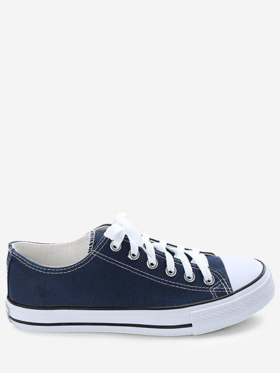 women's Stitching Lace Up Canvas Shoes - BLUE 43