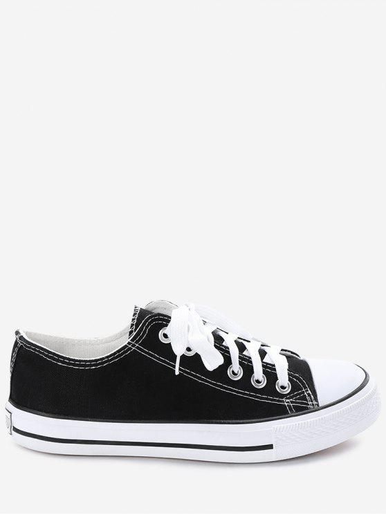 unique Stitching Lace Up Canvas Shoes - BLACK 39
