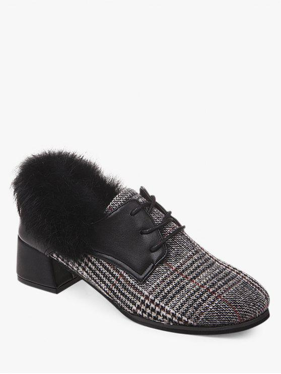 outfits Plaid Faux Fur Chunky Heel Ankle Boots - GRAY 38