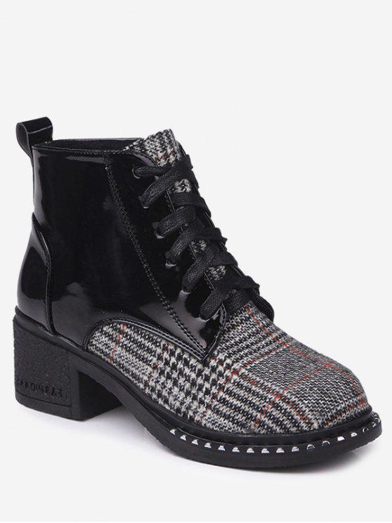 trendy Plaid Mid Heel Rivets Boots - LIGHT KHAKI 37