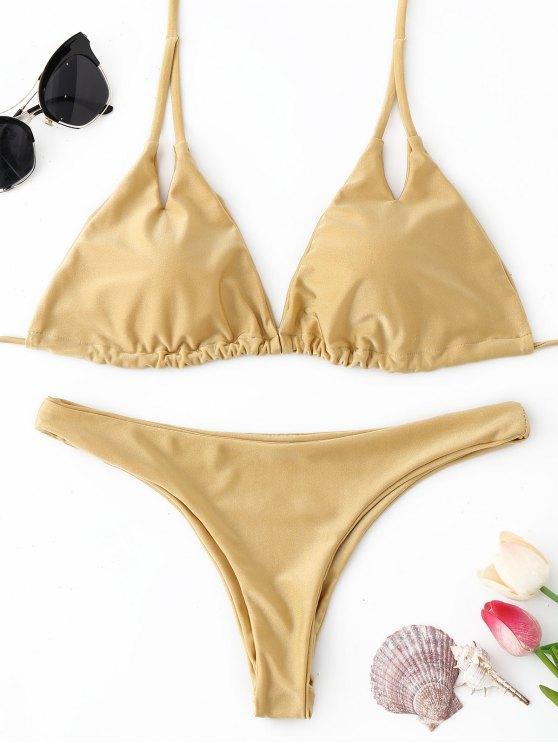 Halter gepolsterter Tanga Bikini Set - Champagner  L