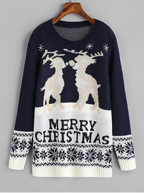 sale Elk Graphic Zig Zag Christmas Sweater - PURPLISH BLUE M