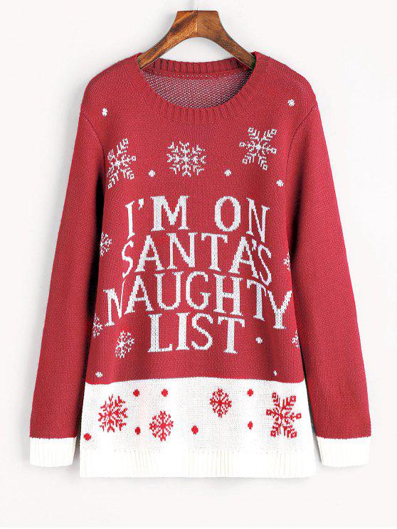 women Snowflakes Contrasting Christmas Sweater - RED M