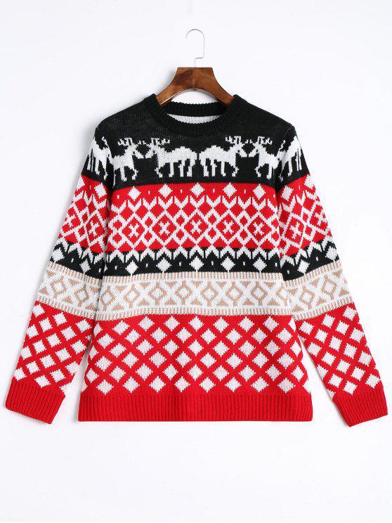 ladies Elk Geometric Pullover Christmas Sweater - RED L