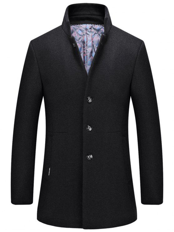 Einreiher Stehkragen Wollmischung Mantel - Schwarz XL
