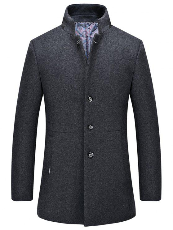 women Single-Breasted Stand Collar Wool Blend Coat - GRAY M