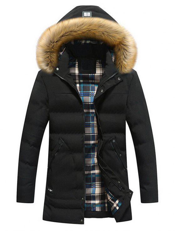 shop Faux Fur Hood Winter Puffer Coat - BLACK 3XL