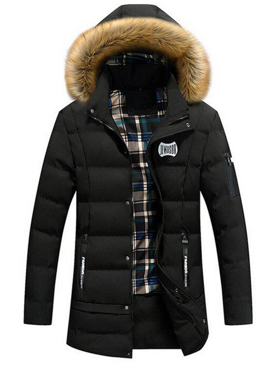 Pelliccia con cappuccio invernale - Nero XL